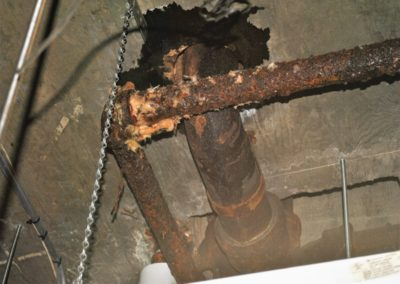 Deteriorated hydronic pipe
